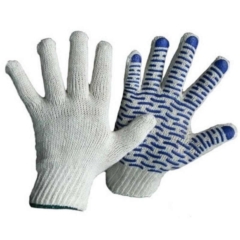 ВОЛНА перчатки хб с ПВХ, Люкс, 5-ти нитка