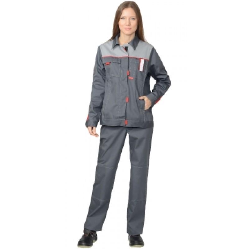 ФАВОРИТ костюм жен. летний, куртка, брюки т.серый со светло-серым