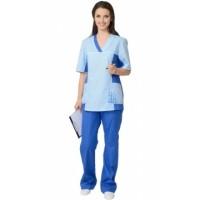 ИРИНА костюм женский, куртка, брюки светло-синий с голубым