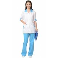 МАРГО костюм женский, куртка, брюки белый с голубым
