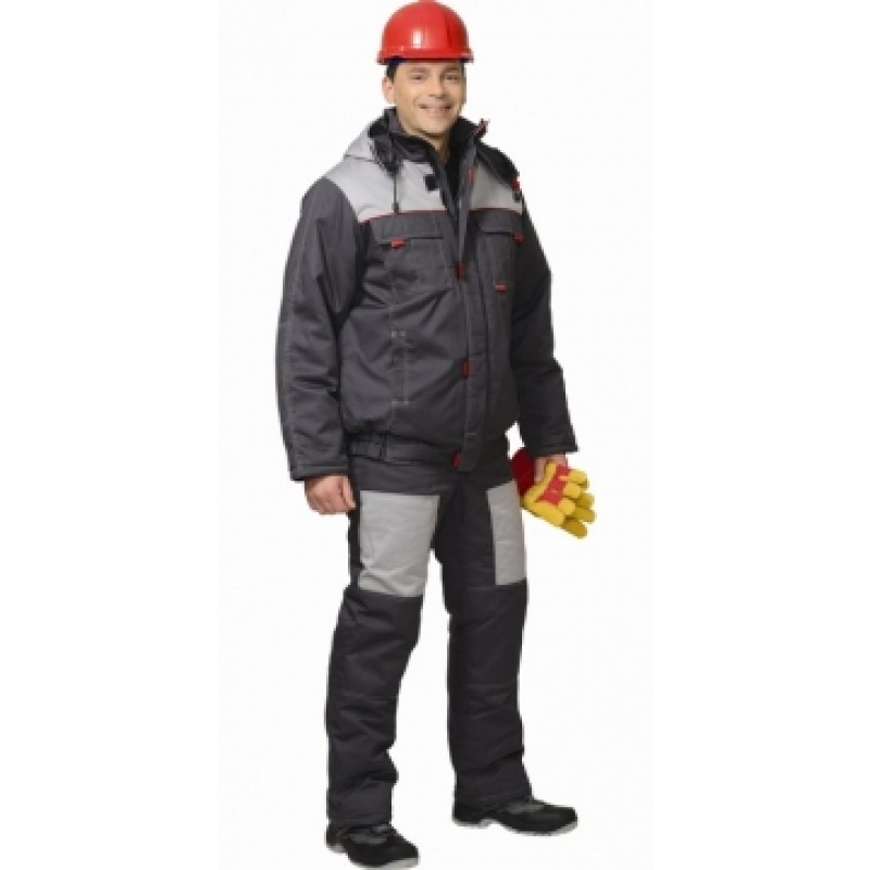ФАВОРИТ костюм зимний, куртка кор., полукомбинезон тёмно-серый с серым
