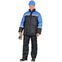 СПЕЦМОНТАЖ костюм зимний, куртка, брюки чёрный с васильковым и СОП