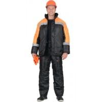 СПЕЦМОНТАЖ костюм зимний, куртка, брюки чёрный с оранжевым и СОП