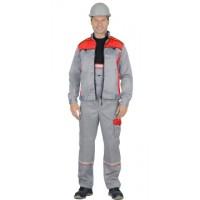 ПРАКТИК-1 костюм летний, куртка кор., п/к. св/серый с красным тк.CROWN-230