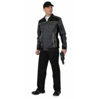 ПРЕСТИЖ костюм, куртка,п/к, цв. темно-серый с лимонным кантом