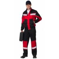 ОРИОН костюм, куртка, полукомбинезон чёрный с красным и СОП