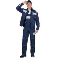 ПЕРСЕЙ костюм, куртка кор., п/к, т.синий с молочным и голубым
