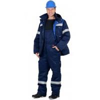 ТИТАН костюм зимний, куртка дл., п/комб. т.синий с васильковым и СОП-50мм
