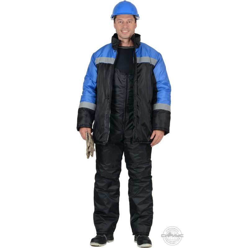 СПЕЦМОНТАЖ костюм зимний, куртка, п/к чёрный с васильковым и СОП