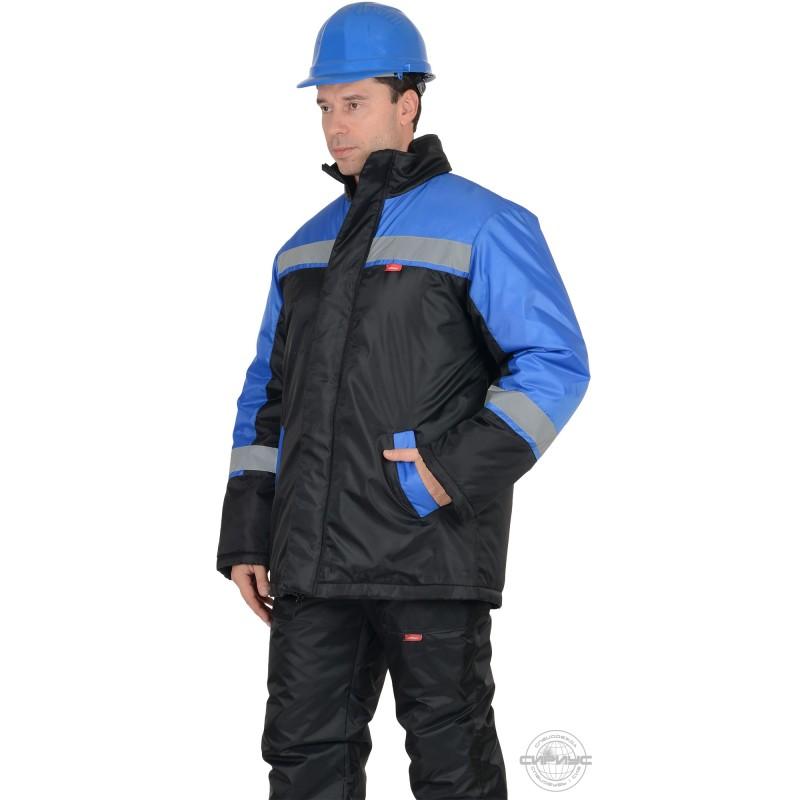 СПЕЦМОНТАЖ куртка дл., черная с васильковым и СОП