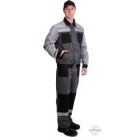 СИРИУС-ЛИГОР костюм, куртка, брюки т.серый со св.серым и черным СОП 50мм