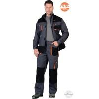СИРИУС-МАНХЕТТЕН костюм, длин. куртка, брюки, т.серый с оранжевым и черным