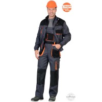 МАНХЕТТЕН костюм, кор. куртка, п/к, т.серый с оранжевым и черным