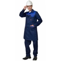 ФАВОРИТ халат мужской тёмно-синий с васильковым