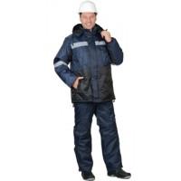 МЕТЕОР костюм зимний, куртка дл., полукомбинезон синий с чёрным и СОП