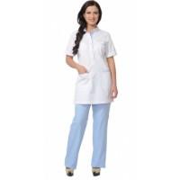 ЭВИТА костюм женский, блуза, брюки белый с голубым