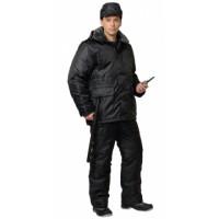 СИРИУС-ОХРАННИК костюм зимний, куртка дл., полукомбинезон чёрный