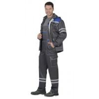 СИРИУС-ЛИДЕР костюм летний, куртка, п/к., т-серый с вас. и молоч. тк.Crown 270 и СОП 25мм
