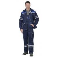 СИРИУС-ЛИДЕР костюм летний, куртка, п/к.,т-синий с вас. и молоч. тк.Crown 270 и СОП 25 мм