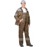 ЛИДЕР костюм летний, куртка, п/к., хаки со св.серым тк.Crown 270 и СОП 25мм