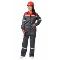 СИРИУС-МЕХАНИК костюм женский, куртка, брюки серый с красным и СОП 25 мм. тк.CROWN-230