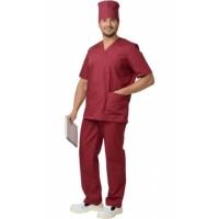 Костюм хирурга универсальный, блуза, брюки бордовый