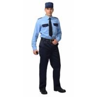 Рубашка охранника длинный рукав голубая с т.синим
