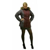 КАРЕЛИЯ куртка зимняя дл., женская цв. бордовый с тёмно-серым