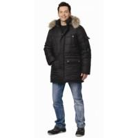 ОСТИН куртка мужская утепленная черная с меховой опушкой
