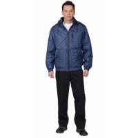 ПРАГА-ЛЮКС куртка мужская, с капюшоном, темно-синяя