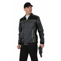 ПРЕСТИЖ куртка кор., летняя темно-серая с лимонным кантом тк.Rodos (245 гр/кв.м)