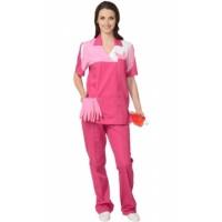ЛОТОС костюм женский, куртка, брюки сливовый с тепло-розовым