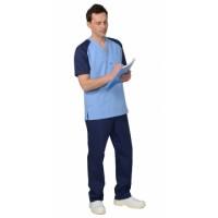 ИНТЕРН костюм мужской, куртка, брюки, тёмно-синий с голубым