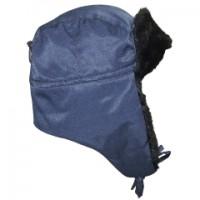 ЛЮКС шапка-ушанка синяя (тк. Оксфорд)