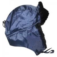 ЛЮКС шапка-ушанка синяя (тк. смесовая)