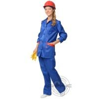СИРИУС-ЗОЛУШКА костюм женский, куртка, брюки васильковый с красным кантом