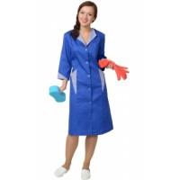 МАРЛЕН-2 халат женский, васильковый с полоской