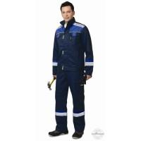 СИРИУС-БОСТОН костюм, куртка кор., полукомб. темно-синий с васильковой и чер. отд.