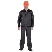 """СИРИУС-ПРЕСТИЖ костюм, куртка, п/к """"Престиж"""" серый, цв. серый с оранжевым кантом"""
