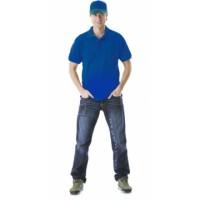 Рубашка-поло короткие рукава васильковая, разнотон, пл. 205 г/кв.м.