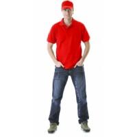 Рубашка-поло короткие рукава ярко-красная, пл. 205 г/кв.м.