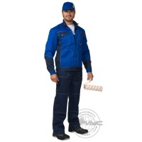 СИРИУС-ГРАНД костюм летний, куртка, полукомбинезон синий с васильковым тк. CROWN-230