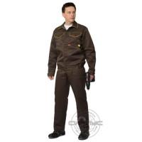 СИРИУС-ДОКЕР костюм летний, куртка кор., п/комб. коричневый с желтым тк.CROWN-230