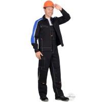 СИРИУС-ДЖЕТ костюм, куртка, п/к т-синий с васильковым и оранж.отд (узб. Саржа)