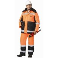 МЕТЕОР костюм зимний, куртка дл., полукомбинезон оранжевый с чёрным и СОП