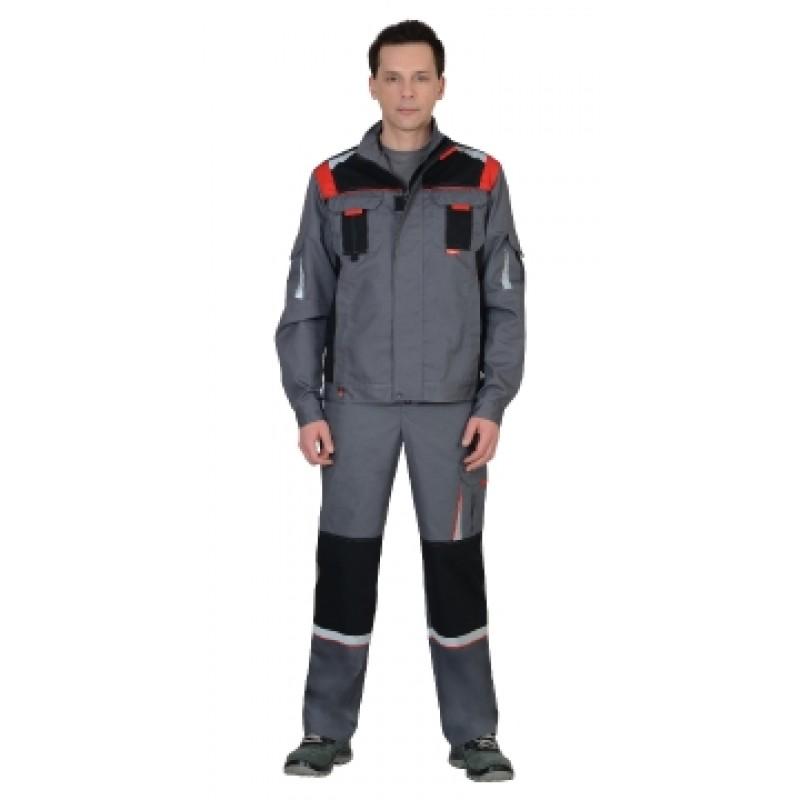 СТАН костюм, куртка, п/комб ср.серый с черной и красной отделкой