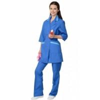 Костюм для сферы услуг женский, куртка, брюки васильковый с голубым
