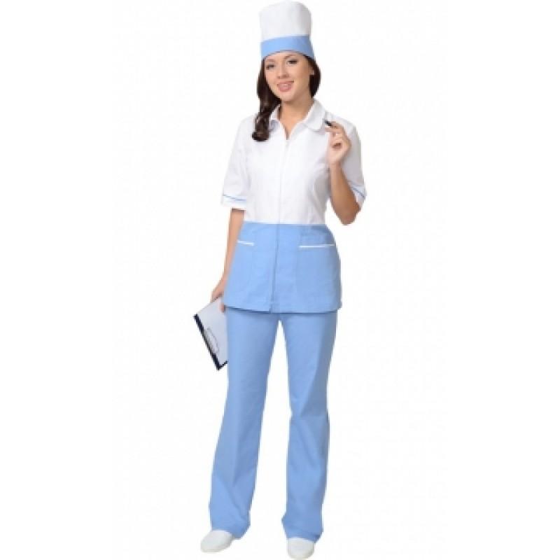 СТЕФАНИ костюм женский, куртка, брюки, колпак белый с голубым