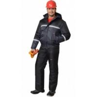 ГАСТАРБАЙТЕР-2 костюм зимний, куртка, брюки тёмно-серый с чёрным и СОП