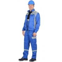 СИРИУС-ПРАКТИК костюм летний, куртка, п/к. васильковый со св.серым тк.CROWN-230